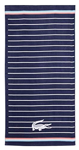 Lacoste Sunbeam Strandtuch, 100% Baumwolle, 91 x 183 cm, gestreift, Marineblau