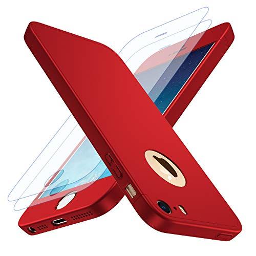 Losvick Coque iPhone 5, iPhone 5s, iPhone Se [2× Film de Verre trempé] Housse 360° PC Antichoc Ultra Mince Case Anti-Rayures Bumper Protection Étui pour iPhone 5, iPhone 5s, iPhone se - Rouge