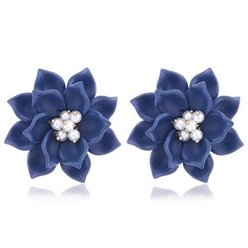 Pendientes de flores de resina. Pendientes de moda de mujer con perlas. Joyas de Europa y América.Pendientes nuevos.