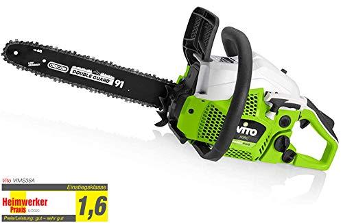 VITO Garden Motosierra MSCC38 + 1.63 CV, nota de prueba 1.6 para motosierra de gasolina, cadena de sierra Oregon Double Guard 3/8', riel guía de 16 pulgadas 40,64 cm (motosierra 40 cm).