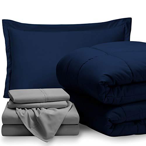 Bare Home Bedding Set 5 Piece Comforter & Sheet Set - Twin XL - Goose Down Alternative - Ultra-Soft 1800 Premium - Hypoallergenic - Breathable Bed Set (Twin XL, Dark Blue/Light Grey)