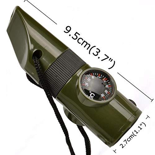 Camping Survival Fluitje Kompas Thermometer Vergrootglas Zaklamp Vuur