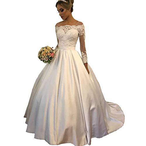 Cloverbridal dames elegante lange mouwen satijn trouwjurken lange baljurken kanten bruidsjurken oversized
