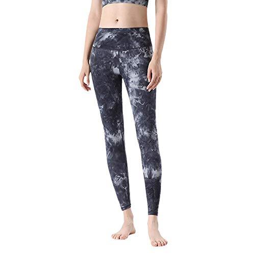 Leggings Fitness Suaves Elásticos,Push up Cintura Alta Yoga Leggings,Pantalones de Yoga con Efecto Tie Dye, Pantalones Deportivos Estampados-Black_M