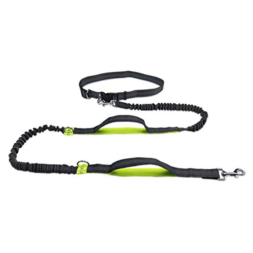 Jsdoin hands-free running dog lead-reflective dog walking belt with integrated bag-up to 100Kg-very suitable for hands-free running, jogging or walking, fluorescent green