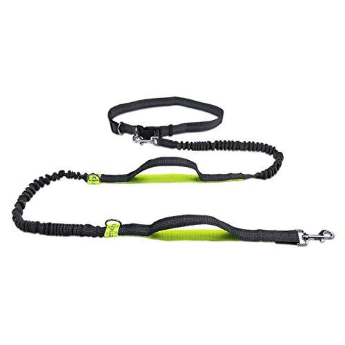 Jsdoin, cintura riflettente per cani da corsa a mani libere, con borsa integrata fino a 100 kg, molto adatta per corsa, jogging o camminare, verde fluorescente