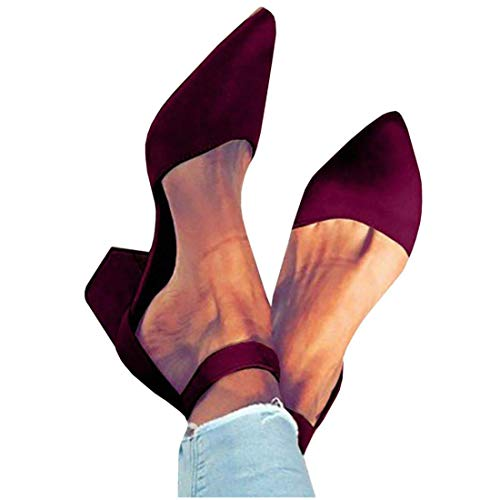 Womens Heeled Ankle Buckle Block Pointed Toe Cut Out Pumps Sandals