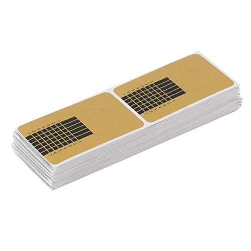 Minkissy 3 Packs Formes D'ongles Dorés Autocollant Nail Art Astuce Guide Autocollants Ongles Extension Manucure Accessoires pour Magasin à Domicile