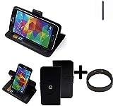 K-S-Trade® Case Schutz Hülle Für Nokia 1 + Bumper Handyhülle Flipcase Smartphone Cover Handy Schutz Tasche Walletcase Schwarz (1x)