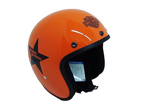 Casco jet pequeño y homologado, naranja, de Harley Davidson XS Arancio