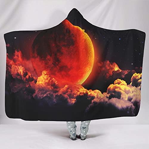 Wandlovers Manta suave con capucha Fantasy Nubes de luna, impresin clida de invierno, tradicional, blanca, 150 x 200 cm