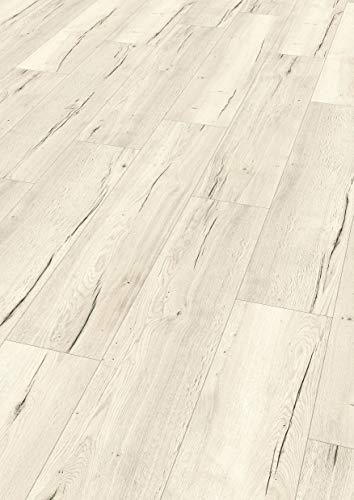EGGER Home Comfort - Design Korkboden weiß in Holzoptik, Halifax Eiche hell EHC028 (8mm, 2,54 m²/Pkt.) Kork Laminat mit Trittschalldämmung - warm & leise
