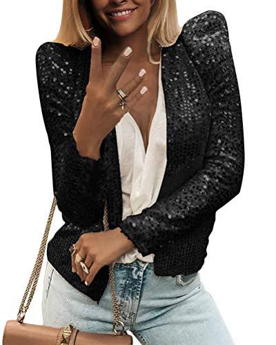 Onsoyours Blazer da Donna Giacche Eleganti con Maniche Lunghe con Paillettes Cardigan Giubbotto Cappotti Classico Outwear Donna Blazer Bolero Slim Fit Nero 44