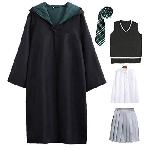 O.AMBW-Harry Potter para niños Ropa para Adultos Conjunto de Disfraces de Capa Unisex Varita mágica Corbata Bufanda Sombrero Camisa Cosplay Disfraz de Fiesta de Carnaval de Halloween S-2XL 115-155cm
