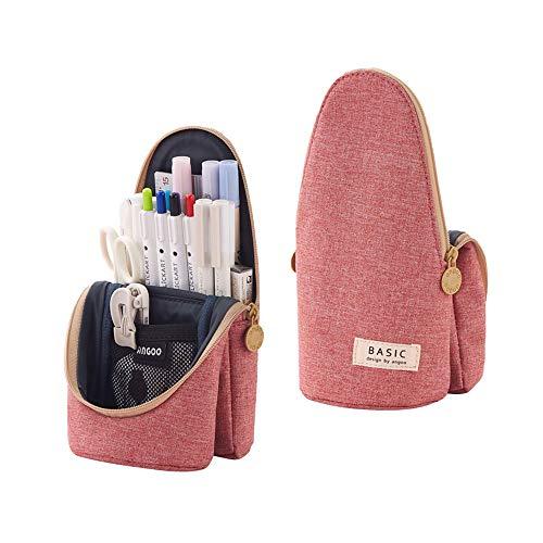 seinal 大容量 ペンケース 立つペンケース 筆箱 多機能 ポーチ ペン立て ツールペンケース 鉛筆 帆布 小学生 中学生 高校生 大学生 男の子 女の子 子供 児童 社会人用 かわいい おしゃれ 筆袋(ピンク)