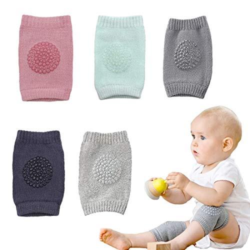 Simoda 5 Paar Baby-Knieschoner mehrfarbiges Anti-Rutsch-Knieschoner für Kleinkinder,verstellbare Beinlinge aus elastischer Baumwolle für 0-24 Monate Baby,Baby vor hartem Boden und Kälte schützen