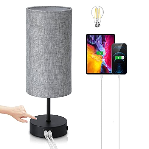 Bedside Lamp with USB Ports - Kingspec 3-Way Dimmable Touch Control Table Lamp for Bedroom Nightstand Living Room with Silver Lampshade, Minimalist Modern Desk Lamp with Warm White LED Bulb