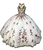 Flowers Embroidered Lace Ball Gown Sweet 16 Girls High Neck Prom Quinceanera Dress Graduation White 4