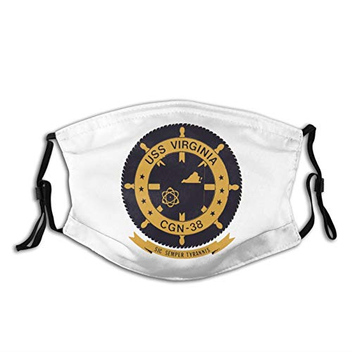 FNNMRTSJ Us Navy USS Virginia Cgn-38 Washable Face Mask with Filters Nose Wire Dust Cloth Sports Unisex Face Cover