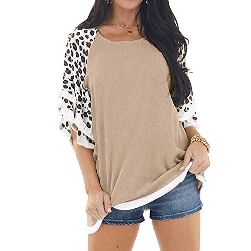 Dasongff Camiseta de verano para mujer, elegante, cuello redondo, manga corta, informal, camiseta suelta, túnica, camisa, informal, blusa de leopardo, estampado de colores, camiseta básica