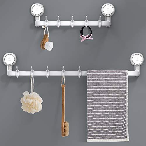 Toallero, Ulinek 64CM Toallero Baño Sin Taladro Adhesivo Toallero Extensible con 5 Gancho y 2 Gancho Ventosa MAX 10KG para Baño Pared, Blanco