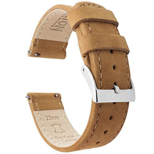 Barton Watch Bands Bracelet De Montre en Cuir Libération Rapide - Choisissez La Couleur Et La Taille Pain D'Épices en Cuir/Pain D'Épices Couture 20mm