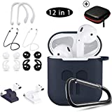 TOLUOHU AirPods Case, 12 in 1 Silicone AirPods Accessories Set Protective Cover, Compatible with Apple AirPods Charging Case, Watch Band Airpods Holder/Ear Hooks/Keychain/Carrying Box(Blue)