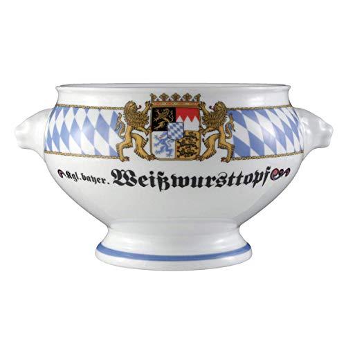 Seltmann Weiden Compact Bayern Löwenkopfterrine ohne Deckel 2,1 L, Porzellan, Blau/Weiß/Gelb/Rot, 23.8 x 19.4 x 12.8 cm