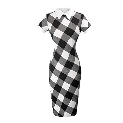 N\P Vestido de mujer de oficina de trabajo con cuello de vuelta y manga corta