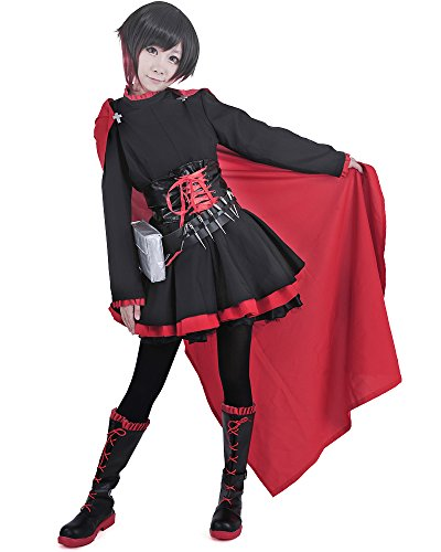 miccostumes Women's Ruby Rose Cosplay Costume (L, Black and Red)
