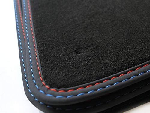 kh Teile Fußmatten E39 Velour Automatten Doppelnaht rot/blau M5 Edition