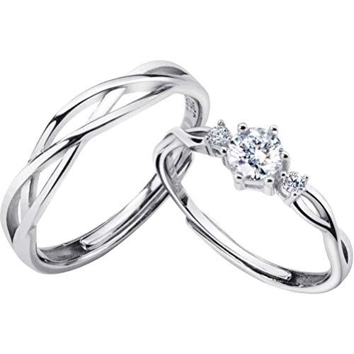 S925 zilveren paar ring Koreaanse romantische diamanten lijn ring Temperament mannen en vrouwen ring geschenk, S925 zilver paar, opening verstelbaar, EEH A ZILVER