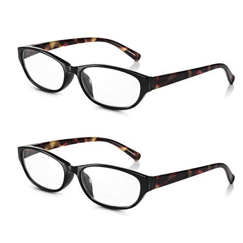 Read Optics 2er Pack Katzenaugen Brillen für Damen: Retro Lesebrillen im Audrey Hepburn Stil. Modischer Schildpatt Rahmen aus leichtem, stabilem Polykarbonat. Qualitäts-Gläser in Stärke +1,5 Dioptrien