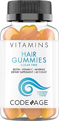 Hair Gummies, Biotin 5000 mcg, Sugar Free Growth Gummy Vitamins A, C, B6, B12, D3, Zinc, Inositol Supplement, Women & Men, Pantothenic Acid, Folic Acid, Nails, Skin, Strawberry Coconut Flavor, 60 ct