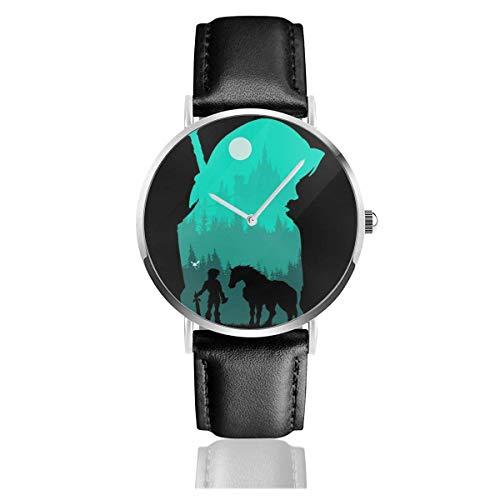 Unisex Business Casual Legend of Zelda Hylian Silhouette Relojes Reloj de Cuero de Cuarzo