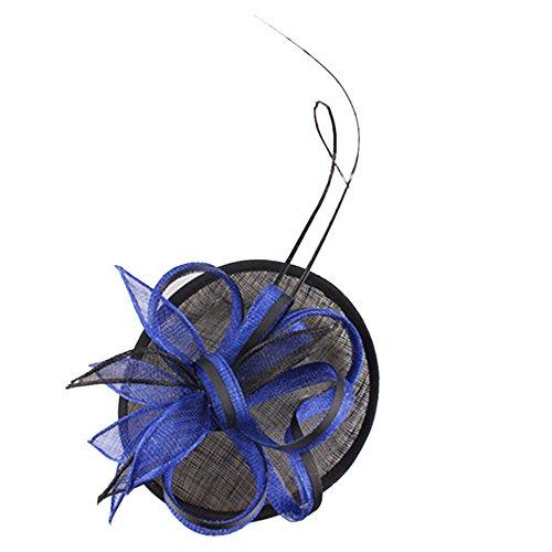 Jklj Pince à Cheveux Coiffe De Plumes Chapeaux Vintage et Fleurs Maille Fil Hairpin Casquettes de Cocktail de Mariage de la Femme Rétro (Color : Blue)