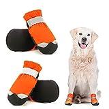 Dociote wasserdichte Hundeschuhe pfotenschutz mit Anti-Rutsch Sohle, reflektierendem Riemen, Klettverschluss Schneeschuhe für mittelgroße große Hunde 4 Stück Orange 6#