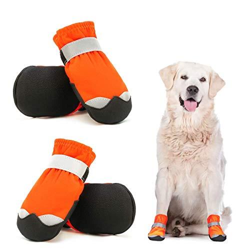 Dociote Chaussures Chien Imperméable Lot de 4, Bottes de Protection pour Chien avec Sangles Antidérapante Réfléchissante, Chaussures Résistantes pour Chiens de Taille Moyenne Grande Orange 6#