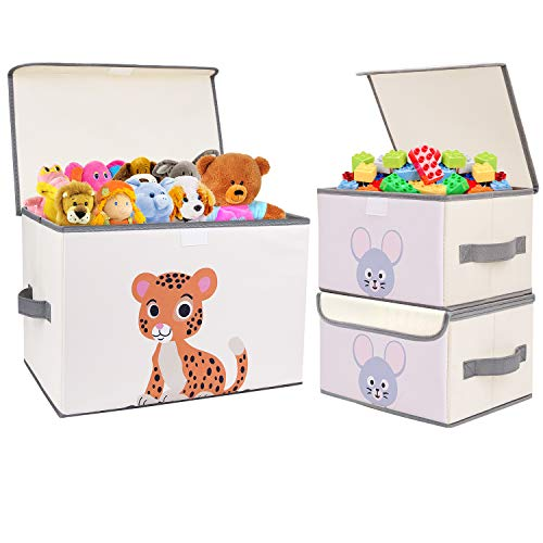 DIMJ 3 Pack Kids Storage Boxes with Lid, Foldable Toy Box with Reinforced Handle, Cartoon Animal Toy Organizer Box, Fabric Toy Chest for Nursery, Closet, Bedroom, Home (Beige)