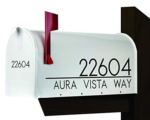 Modern Mailbox Decal | Set of 2 | Name Decal for Mailbox | Mailbox Number Sticker | Personalized Mailbox Decal