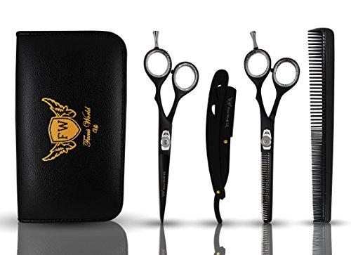 Maquinilla de afeitar profesional para peluquería, corte de pelo y tijeras de entresacar de 6 pulgadas, caja de almacenamiento gratuita, peine gratis