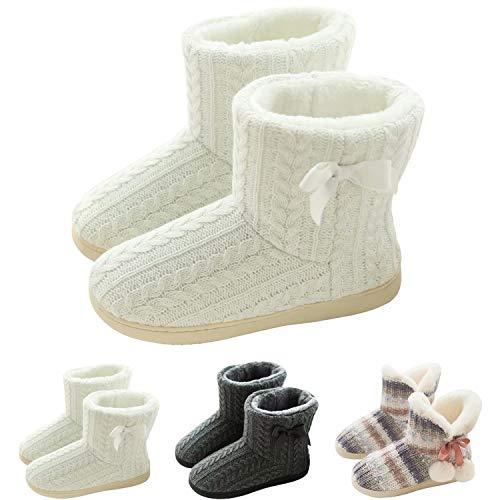 GURGER Botas de Estar por Casa Mujer Zapatillas Casa Altas Invierno Botas Pantuflas de Casa Calentitas Botines Blanco 37 38