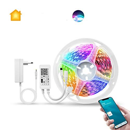 Smart LED Streifen funktioniert mit Apple HomeKit, AIMENGTE WIFI RGB LED Lichtband mit Musik synchronisieren, Flexibel DIY Strip Arbeiten mit Siri, Alexa und Google für Hause Dekoration