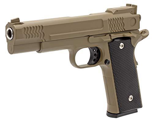 Softair Gun Airsoft Pistole + Munition | Cadofe G20-Tan. Profi Vollmetall | 22cm. Inkl. Magazin & unter 0,5 Joule (ab 14 Jahre)