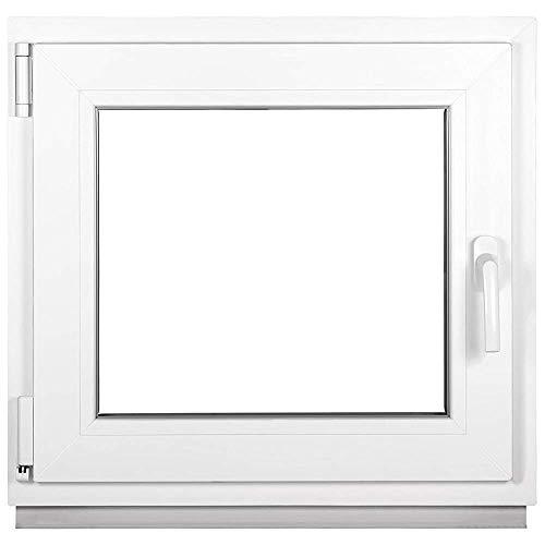 Kunststofffenster Weiß - Kellerfenster 2 Fach Verglasung BxH: 500 x 500 mm - Alle Größen - Garagenfenster/Gartenhaus Fenster 50 x 50 cm - 58 mm Profil - Din Links - Funktion Dreh Kipp Fenster