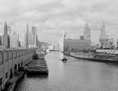 USA Illinois Chicago Chicago river Wrigley building Tribune tower and Sheraton Hotel in background Poster Print (18 x 24)