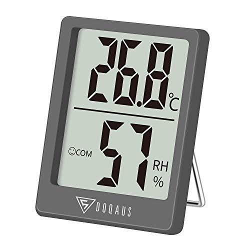 DOQAUS Thermometer Innen, Digitales Mini Thermo Hygrometer Innen, Luftfeuchtigkeitsmessgerät, Hydrometer Feuchtigkeit mit Hohen Genauigkeit, für Raumklimakontrolle, Babyraum, Wohnzimmer, Büro(Grau)