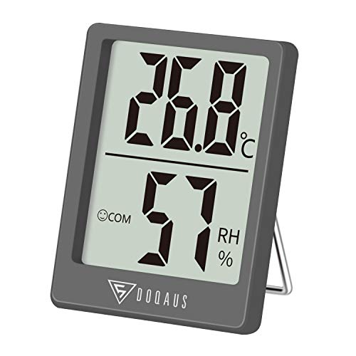DOQAUS Mini Termómetro Higrómetro Digital, Medidor de Temperatura con 5s de Respuesta Rápida para Temperatura y Humedad del Casa Ambiente (Gris)