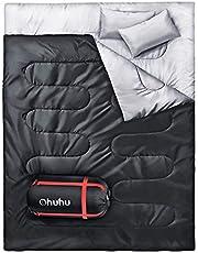 Ohuhu Dubbele slaapzak, 220 x 150 cm, voor volwassenen, met 2 gratis kussens en een draagtas, vier dubbele ritsen, aangename temperatuur voor outdoor, camping