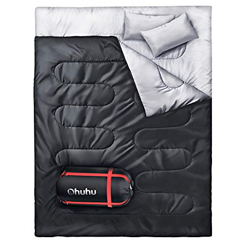 Double Sleeping Bag for Backpacking has Cotton Fill and Two Pillows